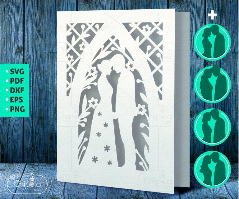 Свадьба - Wedding Card with Envelope SVG  cut file, Bride and Groom Card vector template SVG, Floral card, wedding invitation stationary romantic file