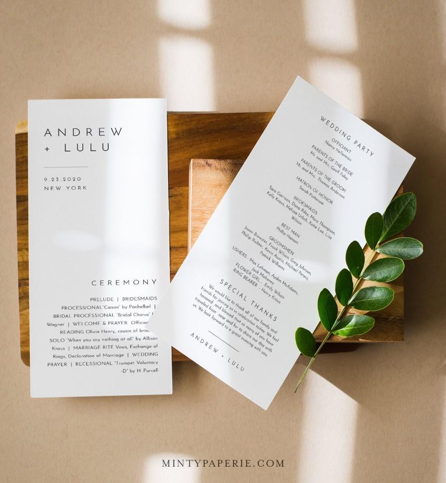 Mariage - Minimalist Wedding Program Template, Modern & Simple Order of Service, Editable, Printable Program, Instant Download, Templett #094-235WP