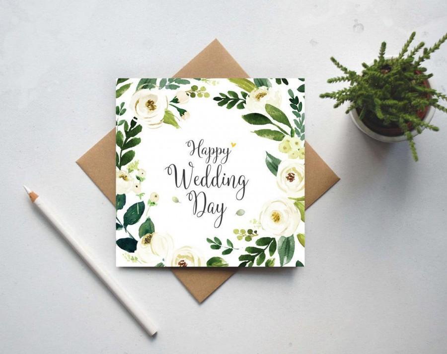Wedding - Happy Wedding Day Card - Floral Wreath - Mr and Mrs Congratulations - Wedding Card UK (GC157A)