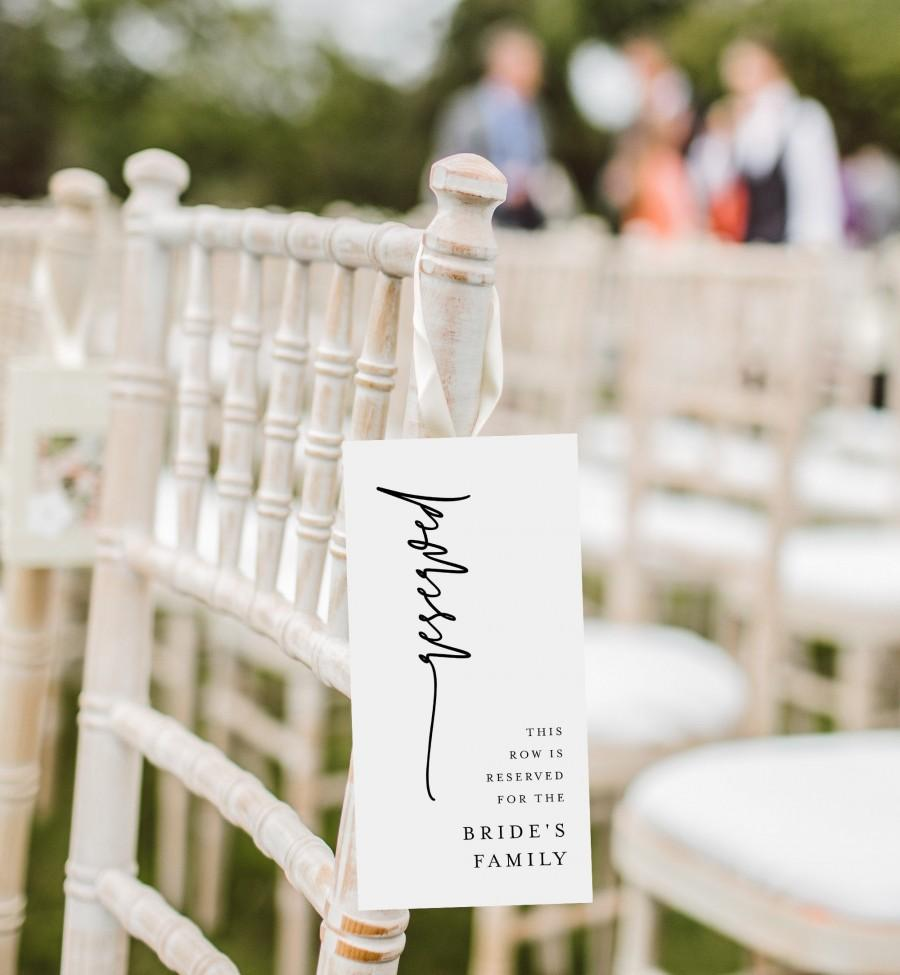 Свадьба - Modern Reserved Seating Tag, Wedding Reserved Row Card, Minimalist Reserve Chair, Editable Template, INSTANT DOWNLOAD, Templett #0009-103RS