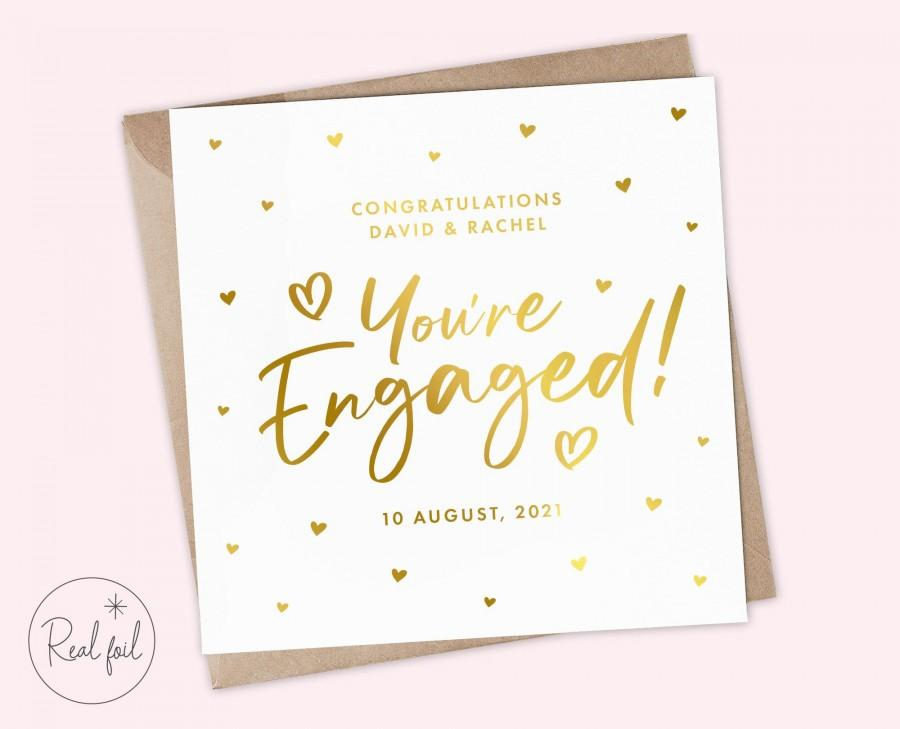 Свадьба - Personalised Cute Engagement Card - Gold, Silver and Rose Gold Card - Engaged Card - You're Engaged Card - Engagement Congratulations Card