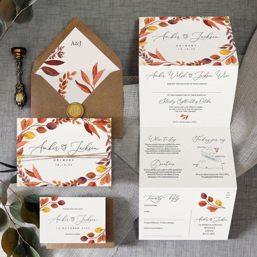 Mariage - Autumn - Luxury Trifold Wedding Invitations & Save the Date or change the date. Rustic Fall wedding Autumn wedding, wedding invites