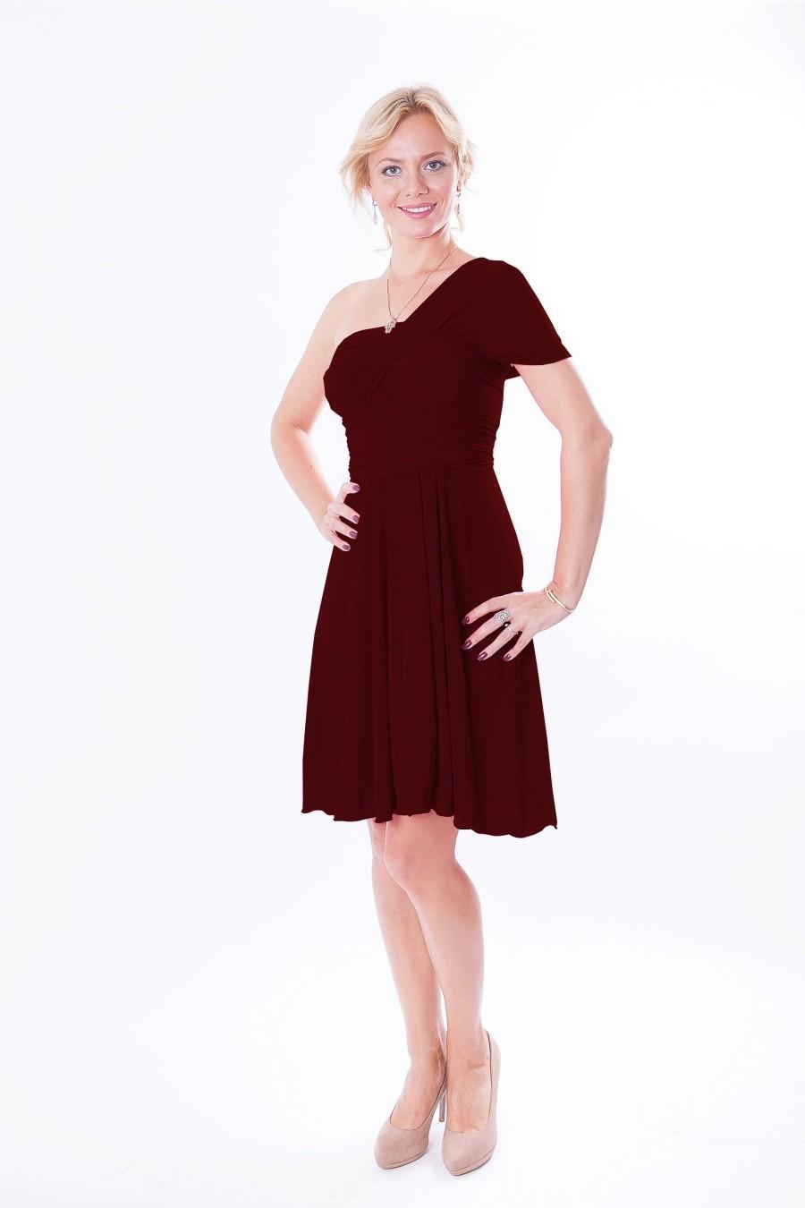 زفاف - Short infinity dress  Convertible Dress in vinous color  Bridesmaid  dress with matching tube top