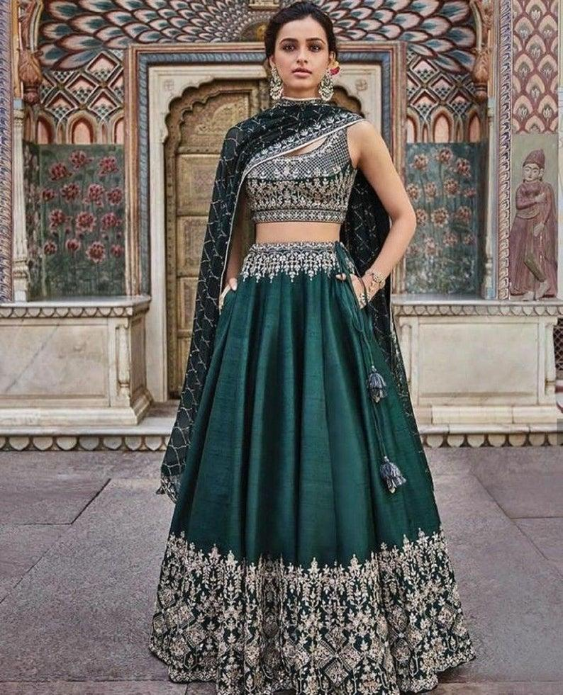 Mariage - Green Embroidery Work Lehenga Choli for Women or girls Party wear And Wedding Wear Lengha Choli indian wedding outfit