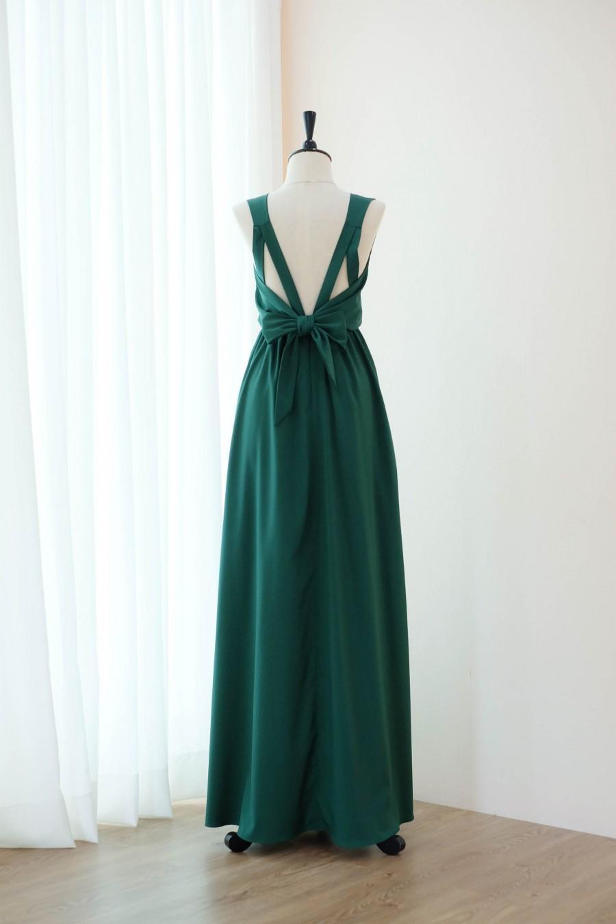 Wedding - Forest green bridesmaid dress Maxi green backless party dress Dark green prom dress cocktail dress floor length dress long bridesmaid dress