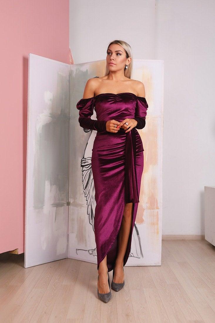 Свадьба - Marsala Velvet Dress, Off Shoulder Velvet Dress, Long Sleeve Maxi Dress, Bridesmaid Boho Gown, Tight Sexy Dress, High Slit Velvet Dress