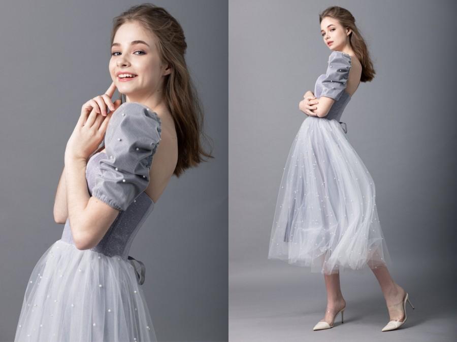 Wedding - Gray Glitter Bridesmaid Dress / Dress 4 US size / Simple Wedding Corset Dress with Pearls / Prom Dress / Short Wedding Dress