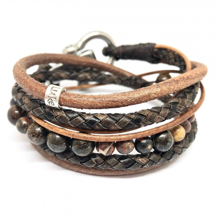 Свадьба - Mens Beaded Bracelet, Personalised Valentines Gift, Personalised Jewellery for Men, Leather Gemstone Wrap, Lederarmbänder Männer
