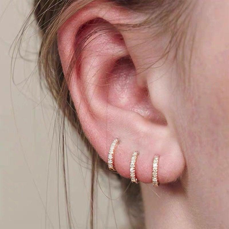 Hochzeit - Gold Huggie Hoop Earrings Set, Tiny Cz Hoop Earrings, Second Hole Hoop Earrings, Cartilage Hoop, Minimalist Gold Conch Hoop, Pave Ring Hoops