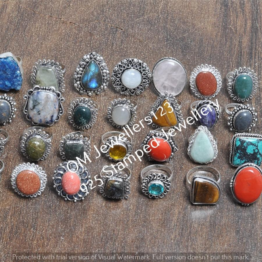 Wedding - Awesome ! Multi Gemstone Mixed Rings Wholesale Lot, 925 Sterling Silver Plated Rings Handmade Jewelry Ring Women Gift Ring Bulk Ring