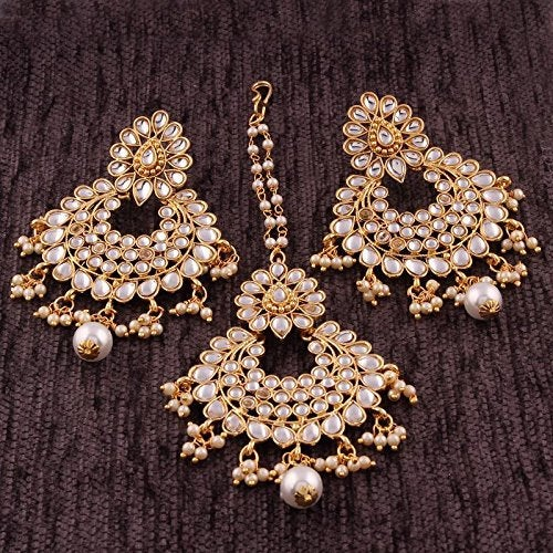 Hochzeit - BALAJI COLLECTION Gold Plated Kundan & Pearl Earring Set Party Wear Bollywood Style Traditional Maang Tikka for Women
