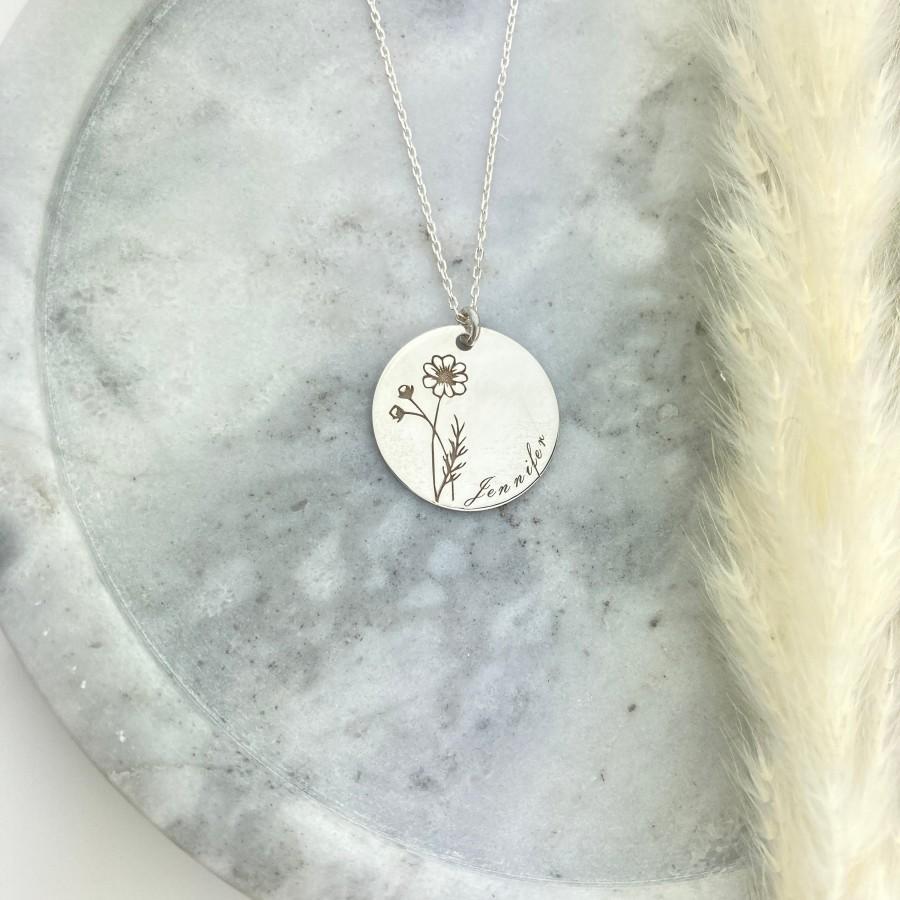 زفاف - Personalised Birth Flower Necklace, 925 Sterling Silver-Plated Minimalist Flower Pendant, Engraved Botanical Disc Jewelry, Birthday Gift