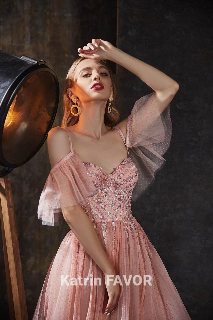 زفاف - Blush Dress Prom Dress Long Tulle Dress Women Embroidered Dress Beaded Dress Evening Gown Formal Dress Alternative Wedding Dress Bohemian