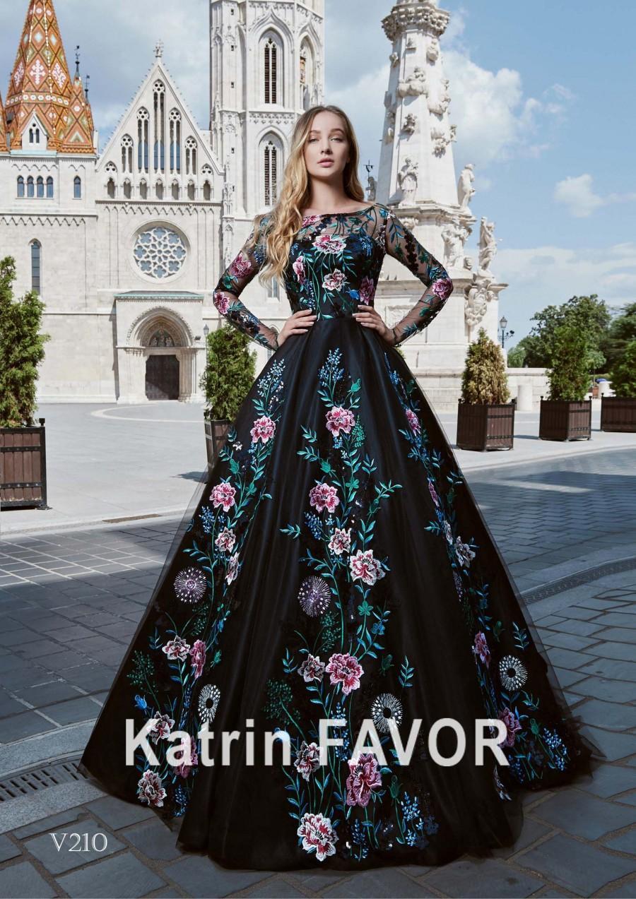 زفاف - Black Wedding Dress Alternative Wedding Dress Floral Dress Long Sleeve Dress Ball Gown Corset Dress Lace Dress Prom Dress Long Evening Gown