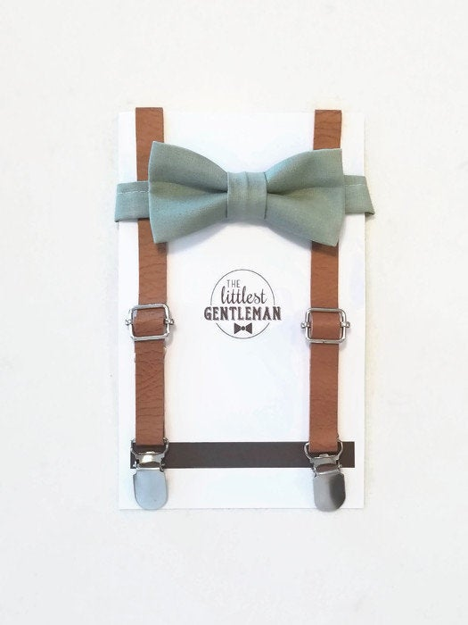 Hochzeit - boys sage green bow tie  and faux leather suspenders set , suspenders, ring bearer outfit, page boy, braces, boys wedding bow, sage green
