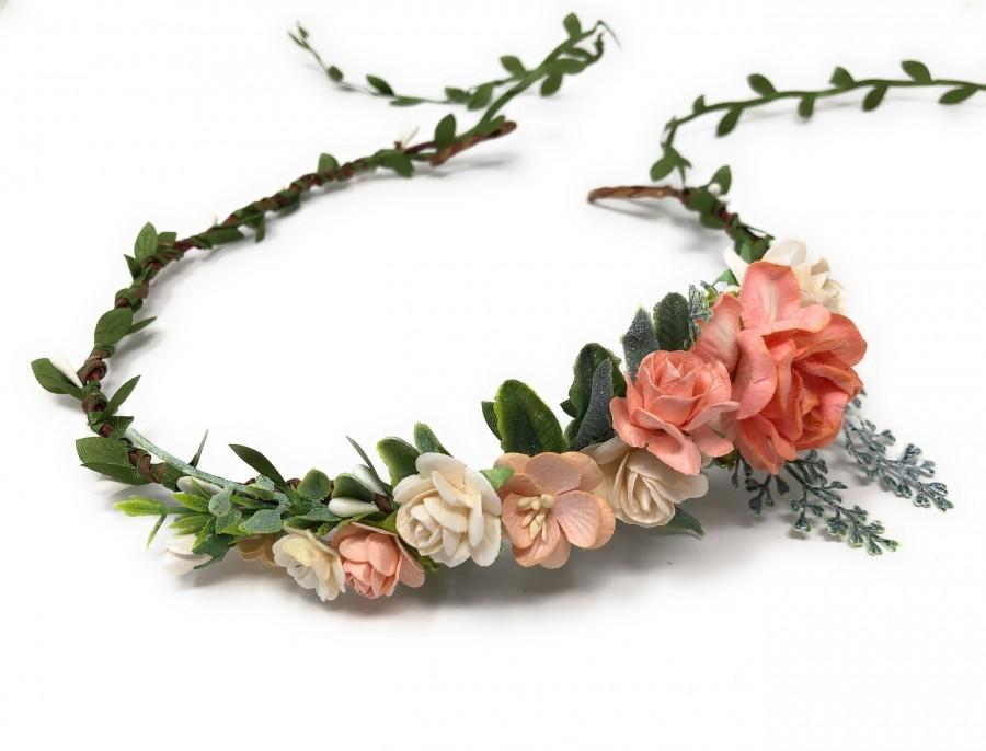 Wedding - Floral crown wedding, peach flower crown for girls, flower girl crown, flower headpiece, flower hair wreath, hair crown, spring flower crown