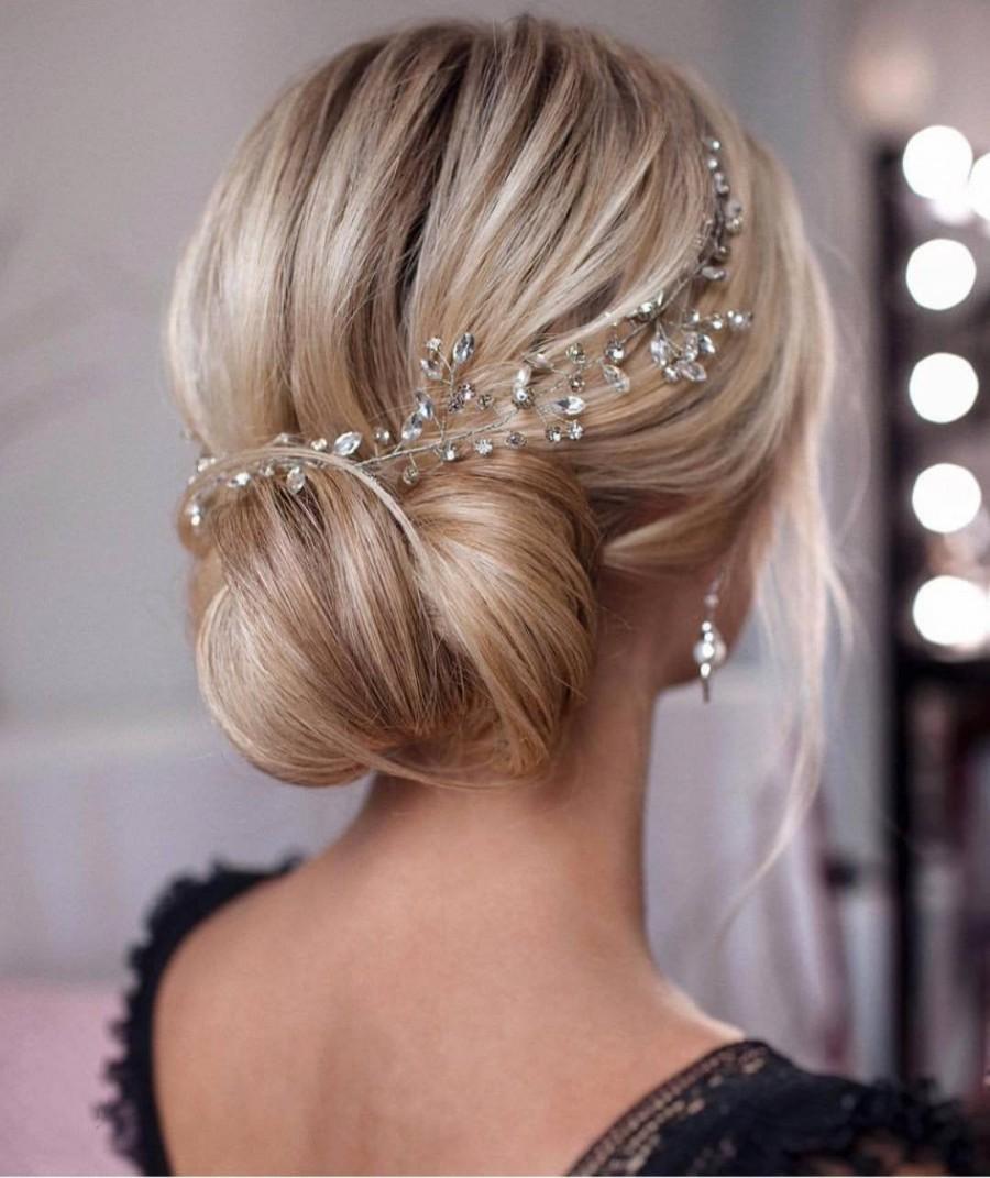 Hochzeit - Bridal hair vine Crystal hair vine Wedding hair pieces Simple hair vine Crystal halo Bridal hair vines Silver hair vine Crystal headpiece