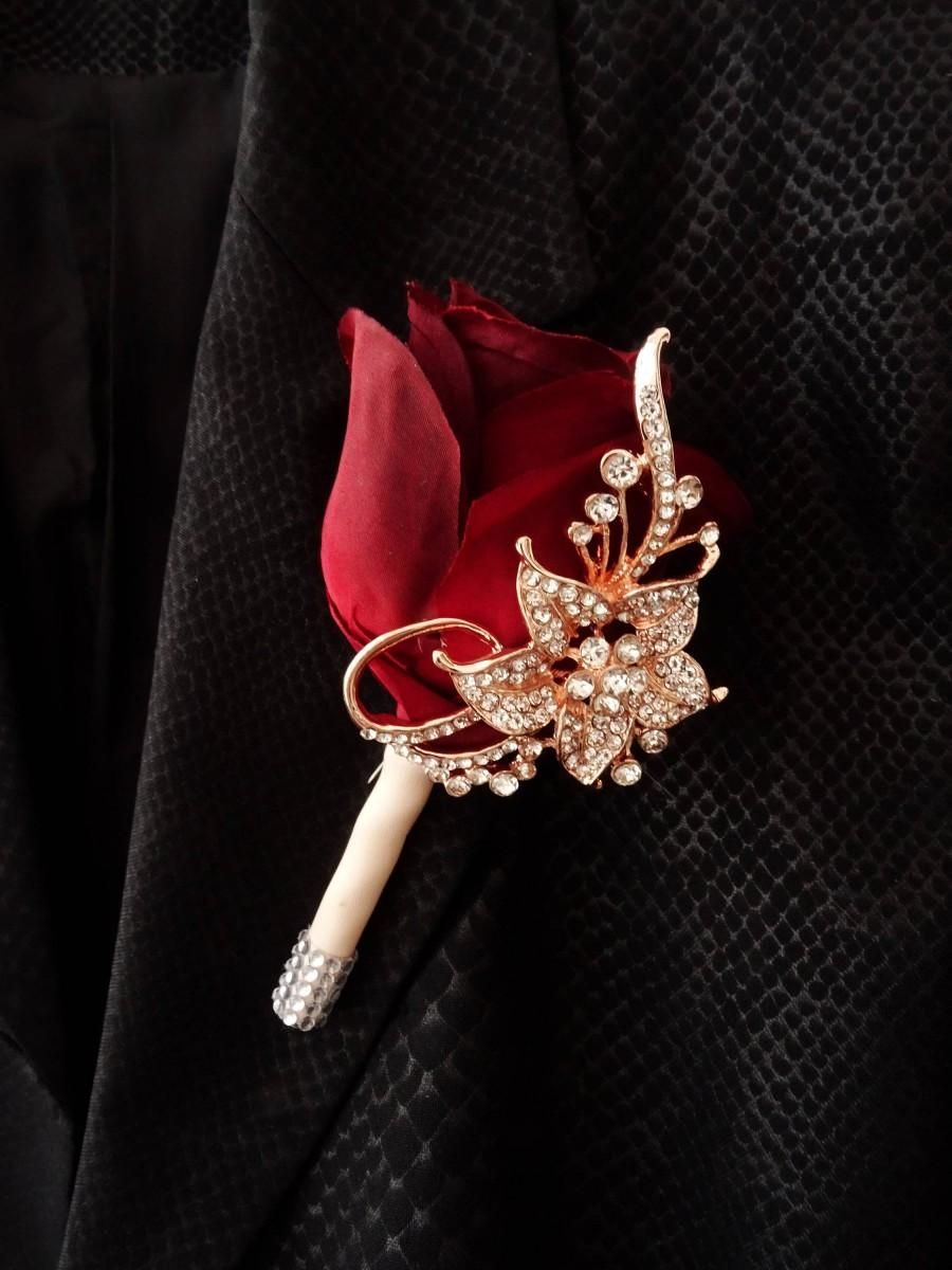 Mariage - Wedding boutonniere. Brooch boutonniere for groom, groomsmen, flower brooch pin. Rose gold or silverBurgundy boutonniere