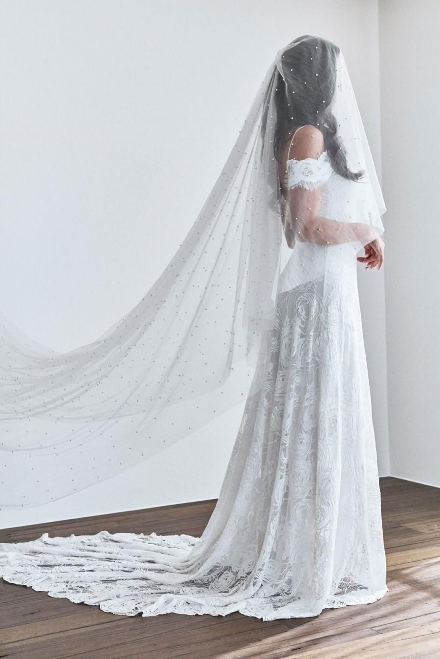 Wedding - Amelia Veil with pearls and a blusher (blusher veil, veil with pearls, cape veil, wedding veil, bridal accessories)