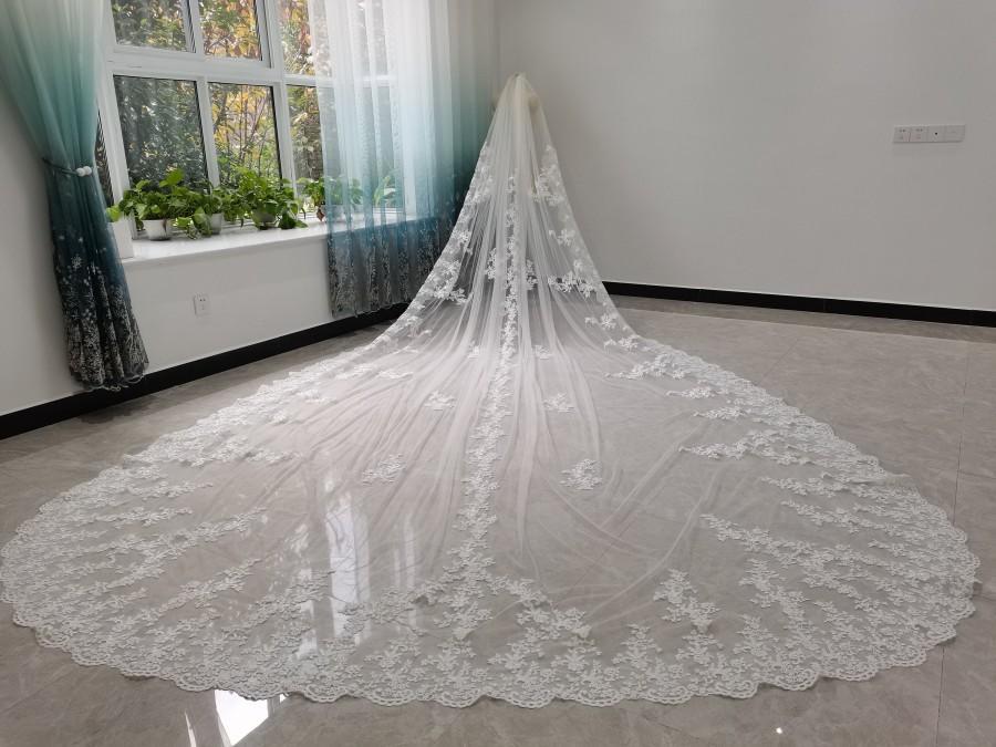 زفاف - Bridal Lace Veil , Lace Wedding Veil, White Ivory Soft Tulle Veil Bridal Veil,Partial Lace Applique Wedding Veil,Single Layer Cathedral Veil