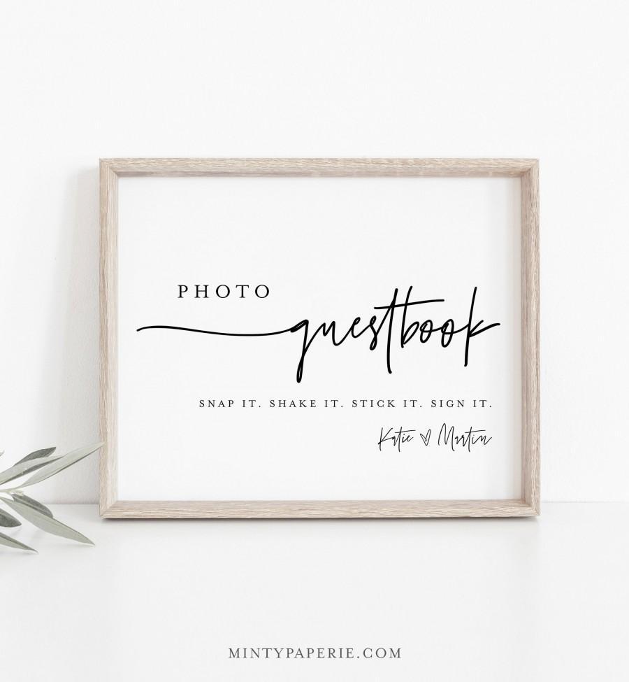 زفاف - Photo Guestbook Sign, Modern Wedding Guest Book, 100% Editable Template, Minimalist Sign, Instant Download, Templett, DIY 8x10 #0009-30S