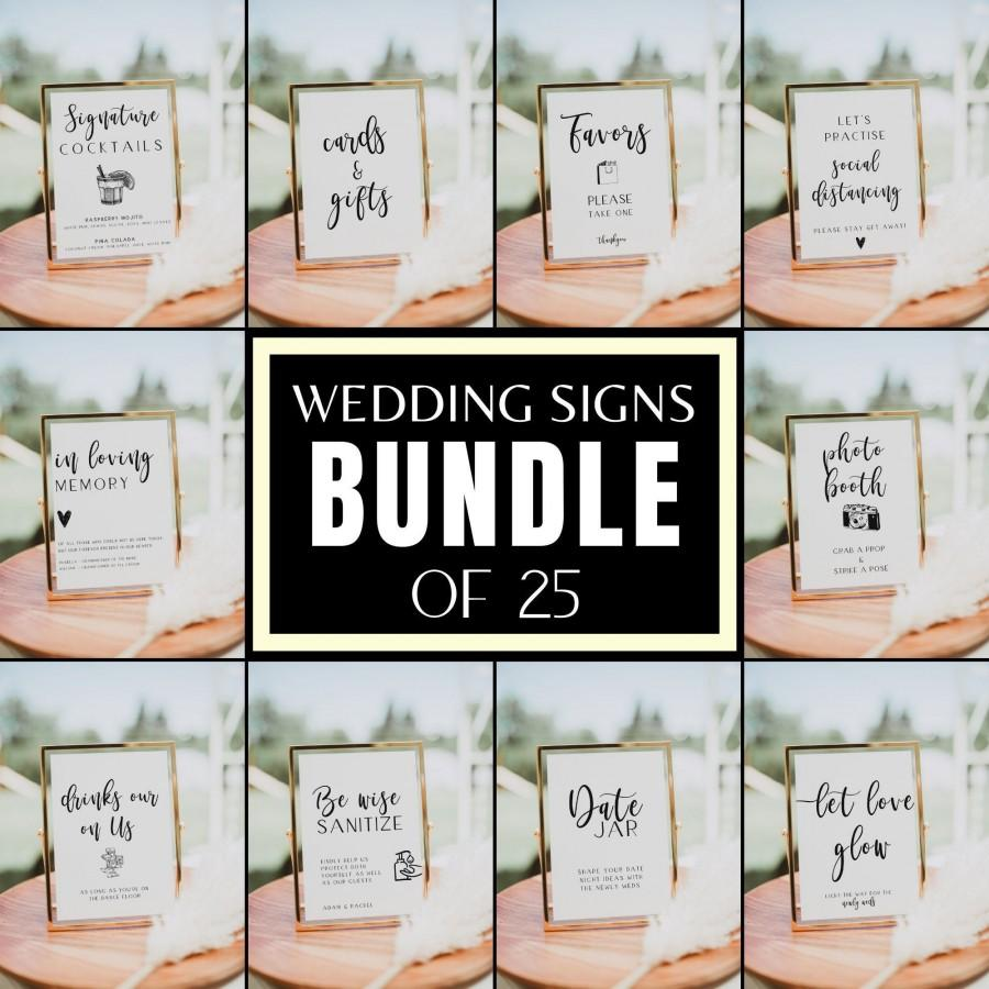 Wedding - Wedding Signs Bundle, 25 SIGNS BUNDLE, Wedding Table Signs, Wedding Decor, Signature Cocktail Sign, Covid Wedding, Cards and Gifts Sign, BL1
