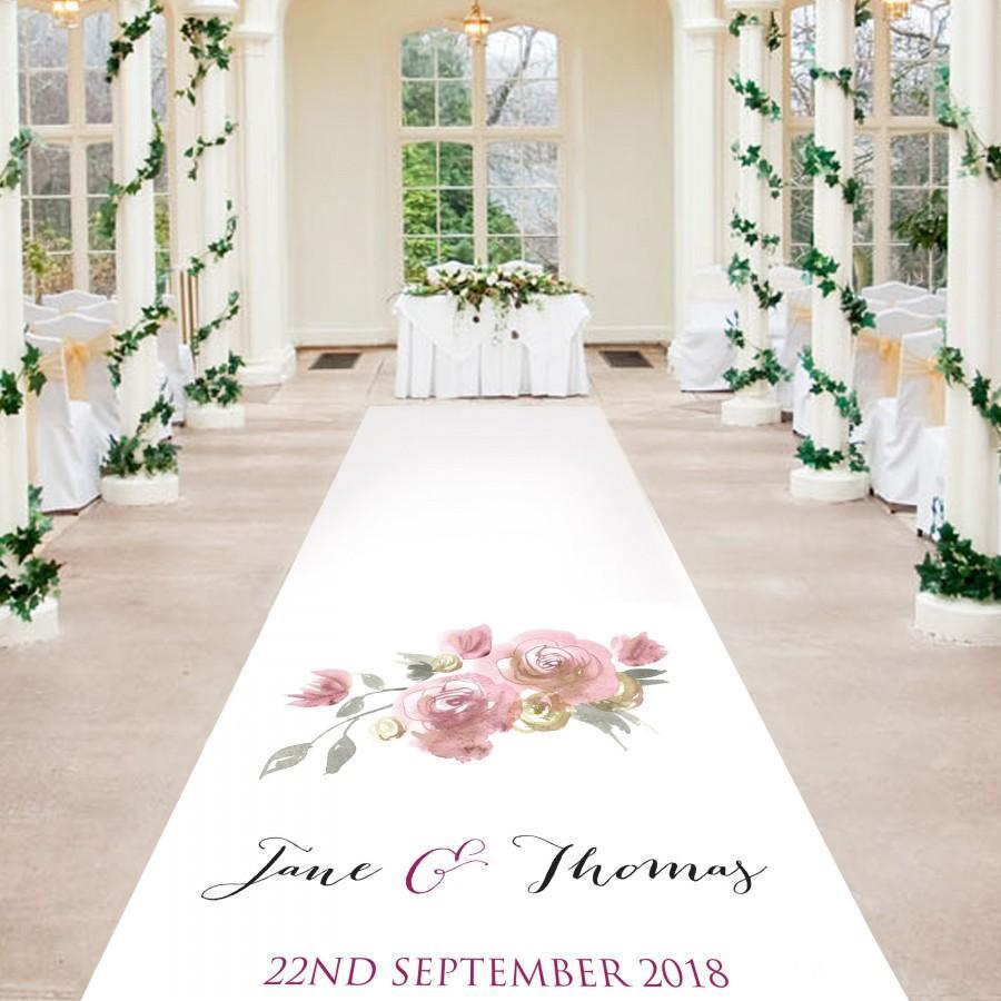 Hochzeit - Rose Aisle Runner - Elegant Rose Design - Personalised Wedding Aisle Runners
