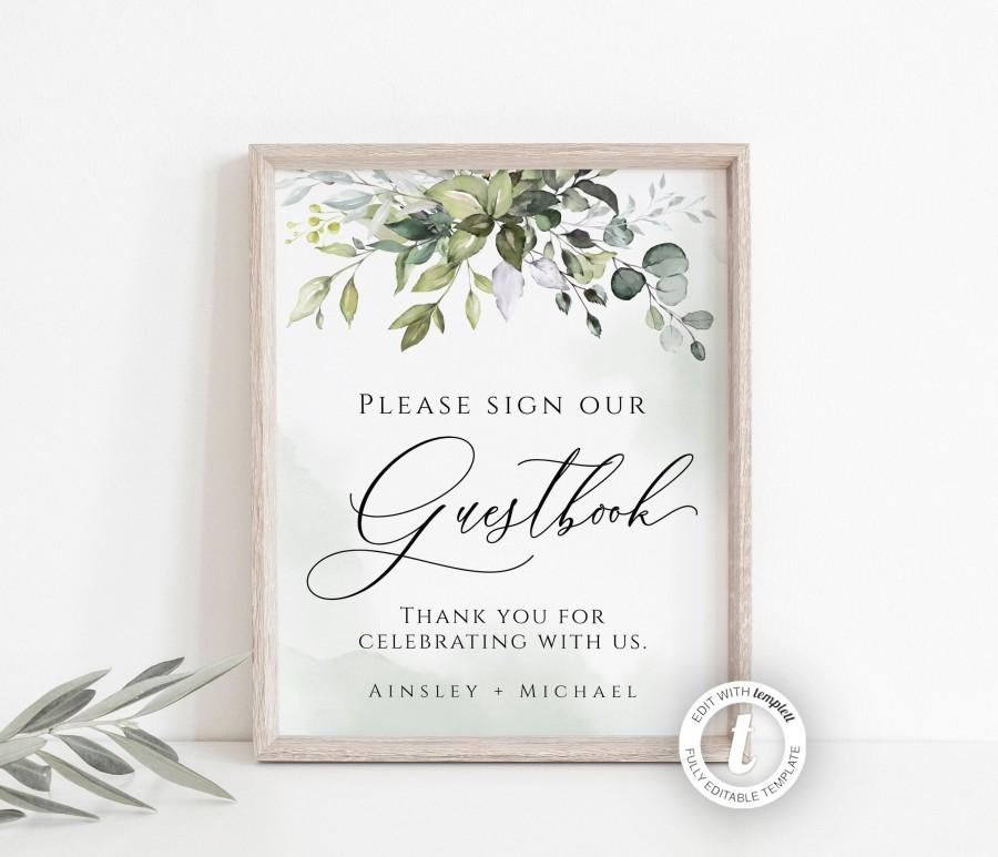 Mariage - Wedding Guestbook Sign Template, Editable Sign, Greenery, Instant Download, Printable Sign, Wedding Decor, Watercolor, Rustic Sign, BD44