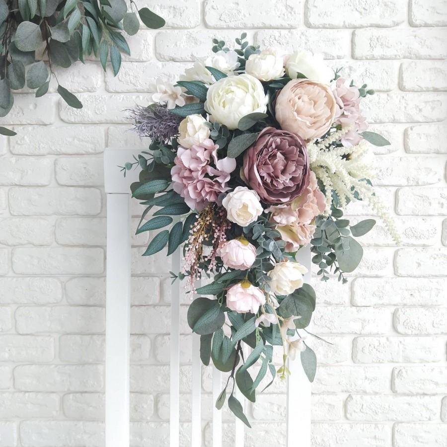 Wedding - Mauve peony cascading bouquet Dusty rose bouquet Blush pink cascading bouquet Plum bridal bouquet Dusty gray eucalyptus bouquet Boho bouquet