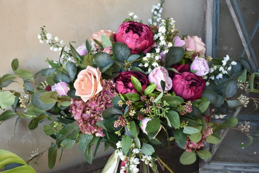 Wedding - XL Bridal Bouquet, Silk Wedding Bouquet,Brides Bouquet,Bridesmaid Bouquets, Boho Bouquets, Boho Bride, Garden Fresh Bouquet