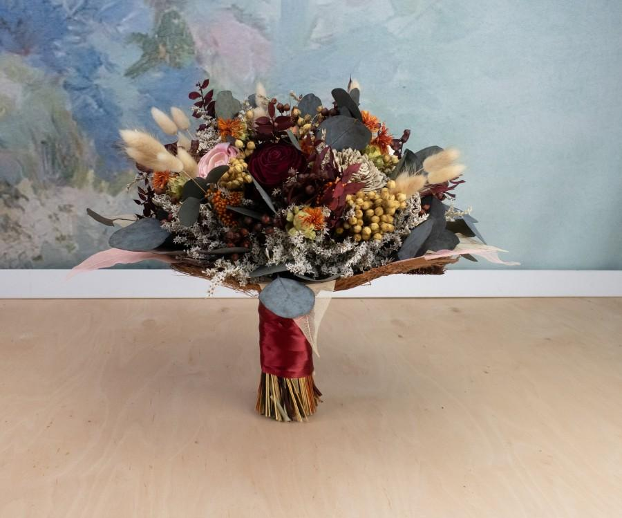 Mariage - Fall sola flower wedding bouquet, burgundy blush pink burnt orange, dried flower autumn bouquet, preserved eucalyptus greenery skeleton leaf