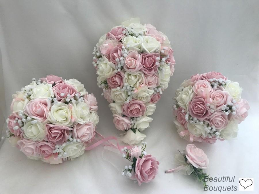 Mariage - Artificial wedding bouquets flowers sets ivory mixed pinks