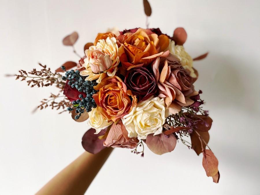 زفاف - Burnt Orange & Burgundy Fall Bouquet, Fall Wedding Bouquet, Autumn Bridal Bouquet, Fall Silk Flower Bouquet, Rustic Bouquet with Fall Colors