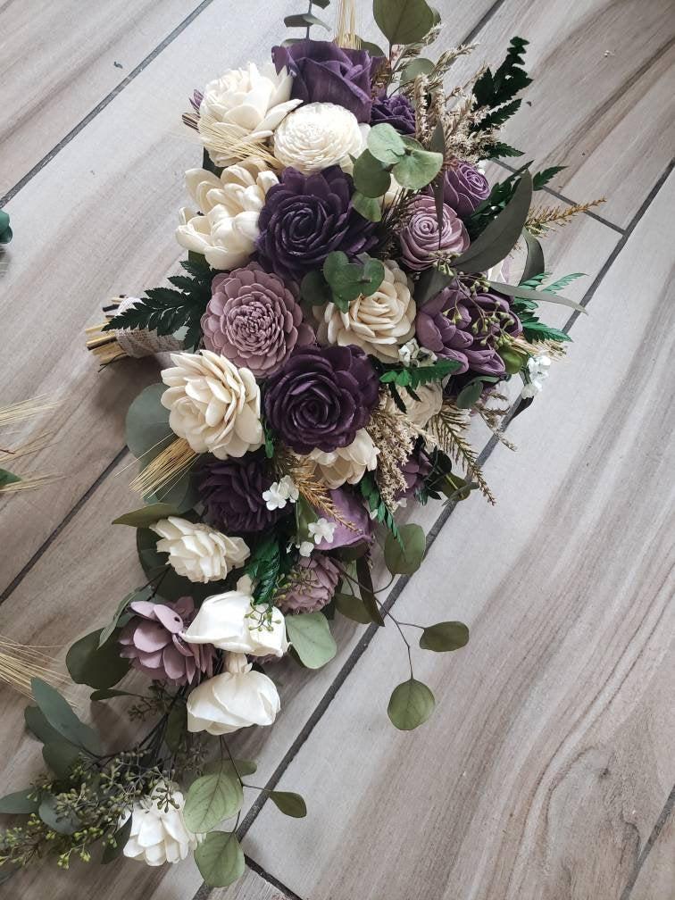 Свадьба - Shades of purple cascading bouquet, wedding flowers, sola wood flower