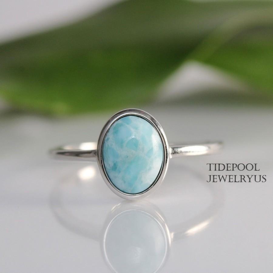 زفاف - Oval Larimar Ring Size 10, Sterling silver Elegant Larimar Ring, Larimar Sterling silver Ring, Wedding Engagement Gift for her, mother