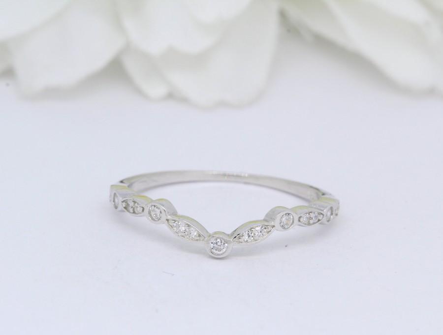زفاف - 4mm Half Eternity Chevron Midi Ring  V Art Deco Band for Ring Wedding Band Curved Round Simulated Diamond Ring 925 Sterling Silver V Ring