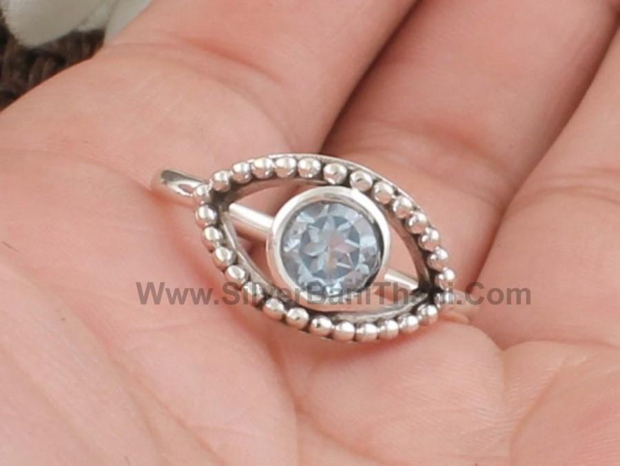Wedding - Natural Blue Topaz Gemstone Silver Ring