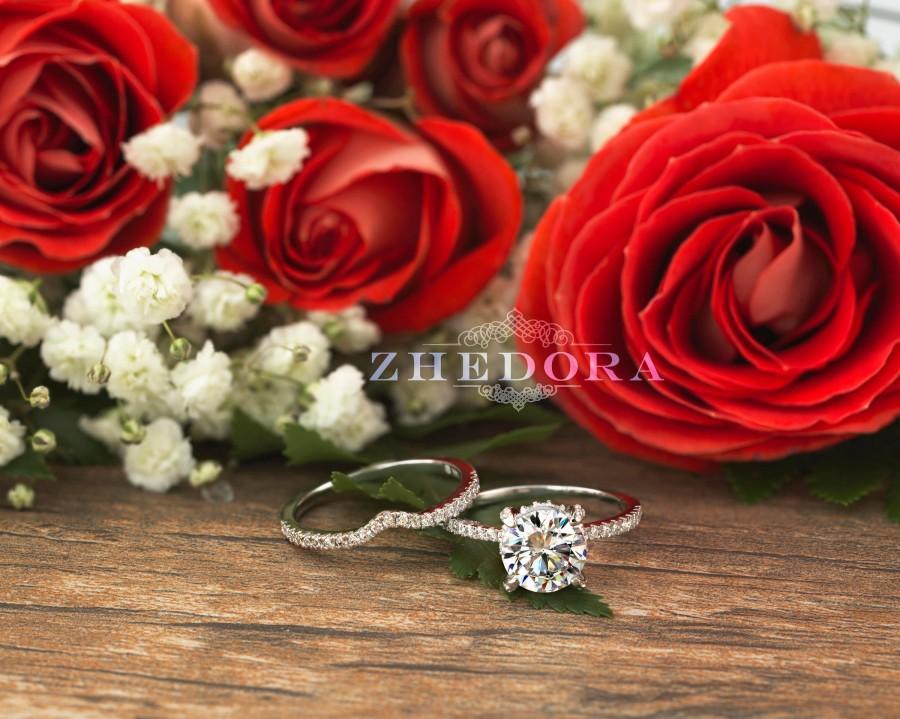 Wedding - Forever One Round Bridal Set in 14/18K Solid Gold , White Sapphire Bridal Set, Moissanite Engagement Ring, Diamond Basket Engagement Ring