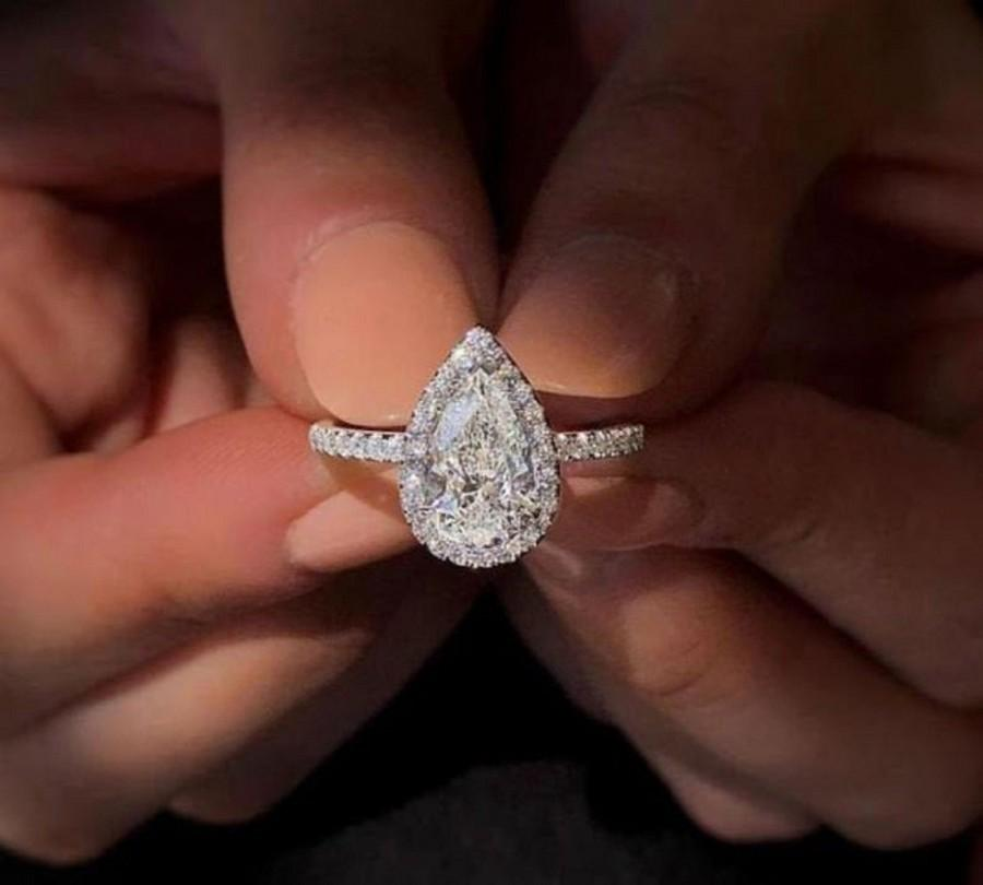 Wedding - 2.20 Carat Pear Shape Moissanite Engagement Ring, Classic Halo Ring, Moissanite Diamond Ring, Unique Simulated Diamond Ring, Valentine Gift