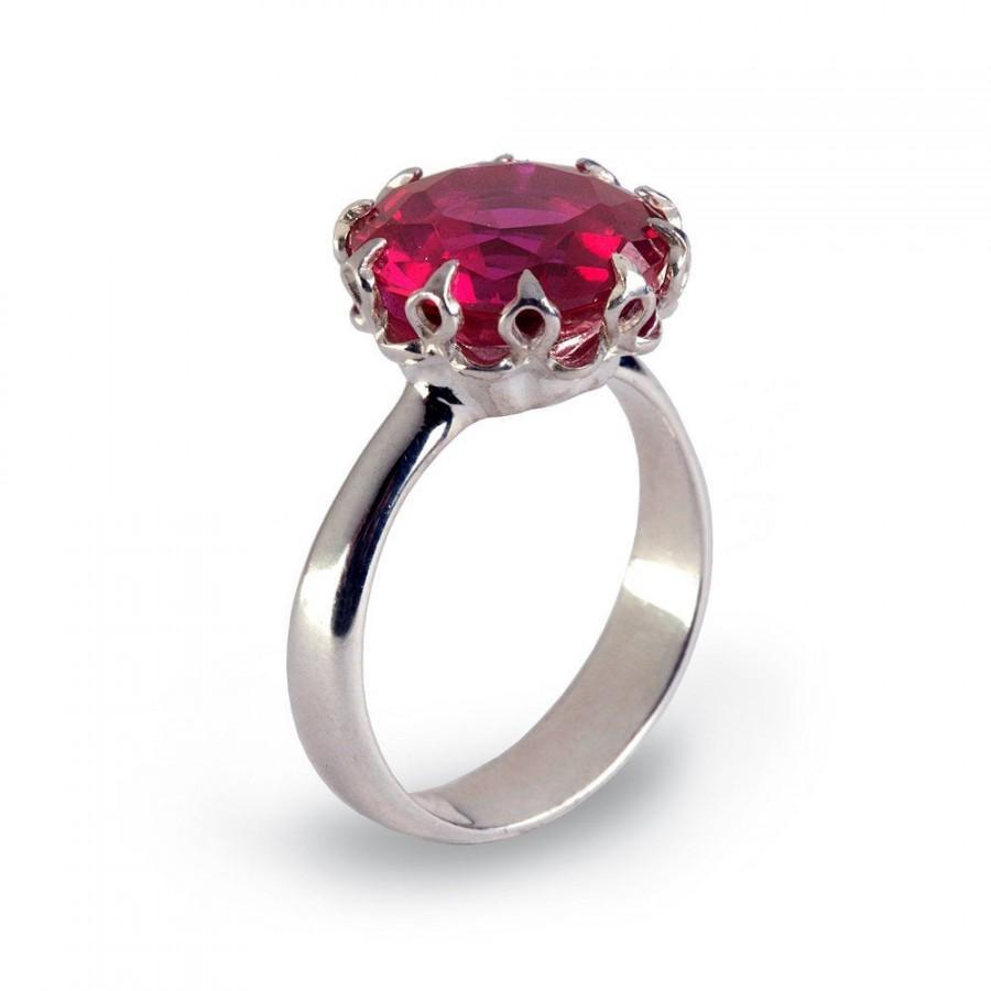 زفاف - CROWN Silver Promise Ring for Her, Ruby Engagement Ring, Large Ruby Ring, Silver July Birthstone Ring, Ruby Statement Ring