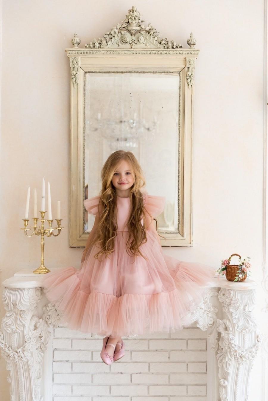 Hochzeit - Flower girl dress, Blush flower girl dress, flower girl dress tulle, flower girl dress tulle blush, boho flower girl dress