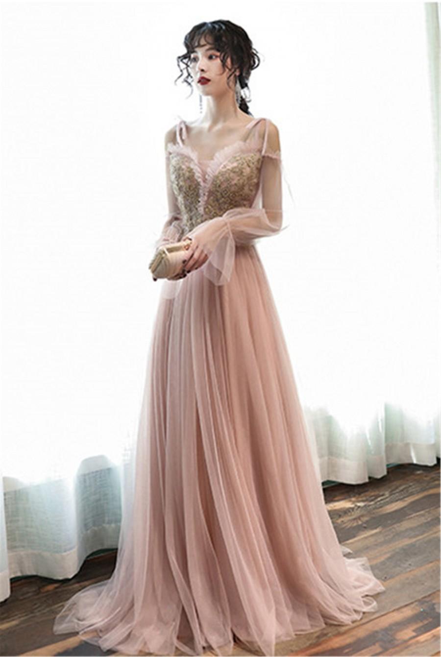 Mariage - Bishop Wedding Dress Dusty Pink V-Neck Bridal Dress Lace Up Back Bridesmaid Dress Spaghetti Strap Prom Dress Lace Appliques Event Dress Long