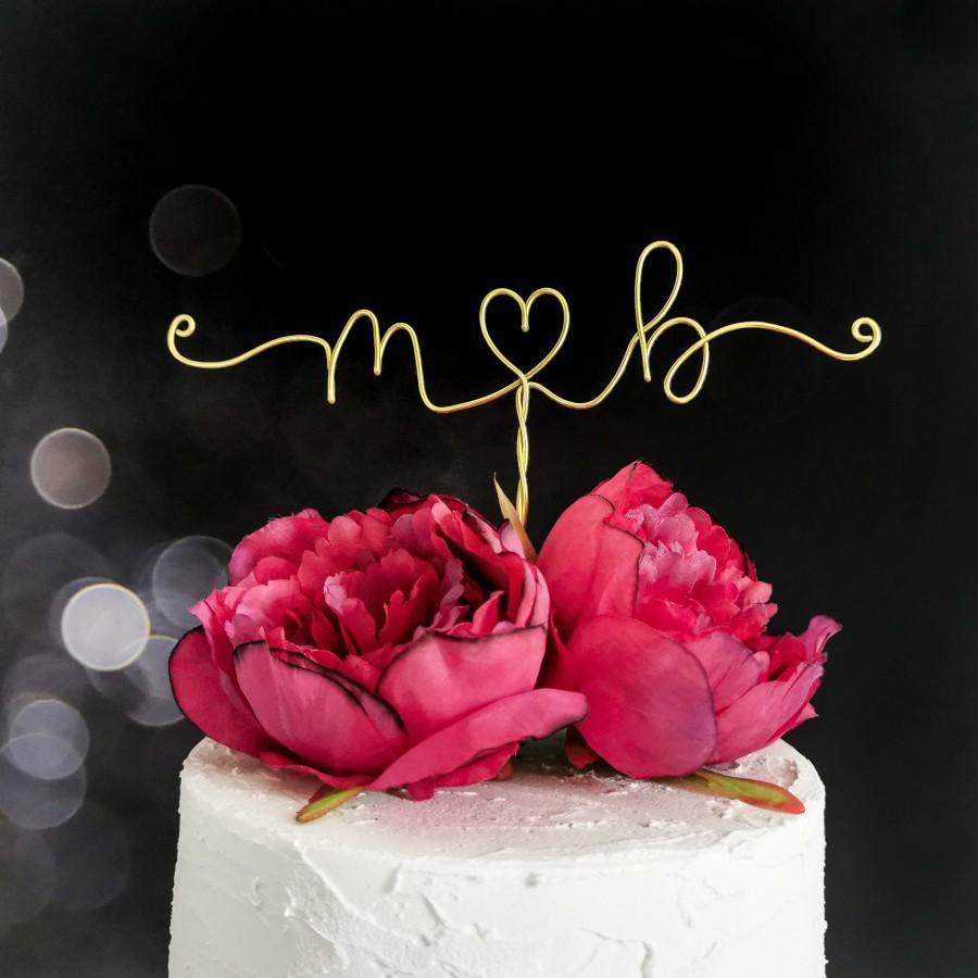 Wedding - Minimalist Initials Wedding Cake Topper - Custom Wedding Cake Topper - Wedding Decor - Personalised Cake Topper - Personal Wedding Decor
