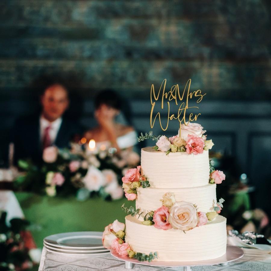 زفاف - Gold Cake topper for Wedding, Personalized cake topper, Rustic wedding cake topper, Custom Mr Mrs cake topper, Anniversary Cake toppers