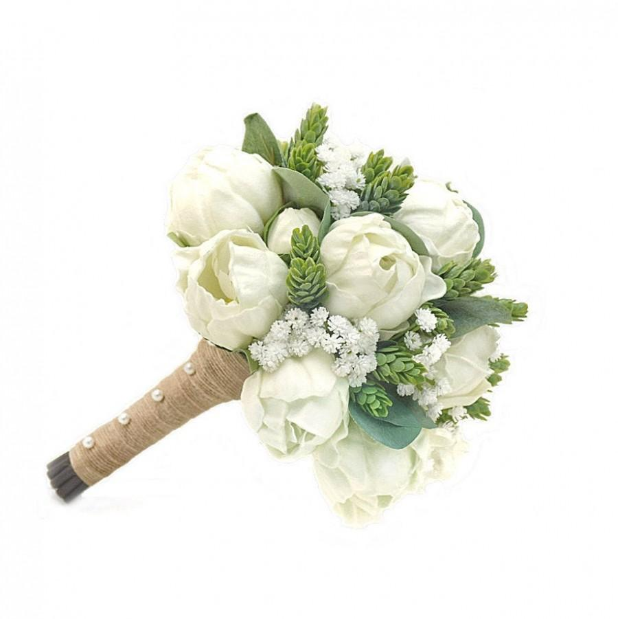 Mariage - Real Touch Artificial White Ivory Peonies Hops Babys Breath Bridal Cascade Bouquet Bridesmaids Bouquets Prom Wedding Flowers CenterPieces
