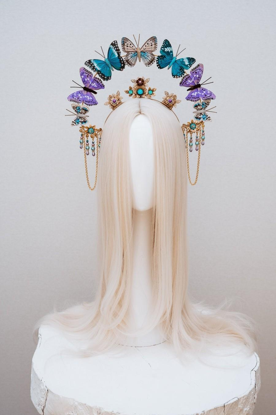 Mariage - Butterfly crown, Gold Halo Crown, Halo, Halo Crown, Halo Headpiece, Halo Headband, Halo Headlights, Crown, Gold Halo, Headpiece, Crown, Boho