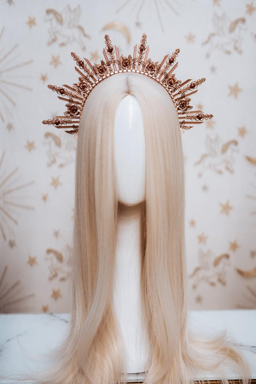 Wedding - Sun crown, Flower Crown, Halo Crown, Halo Headpiece, Halo Headband, Halo Headlights, Rose Gold Halo, Headpiece, Wedding Crown, Boho Flowers