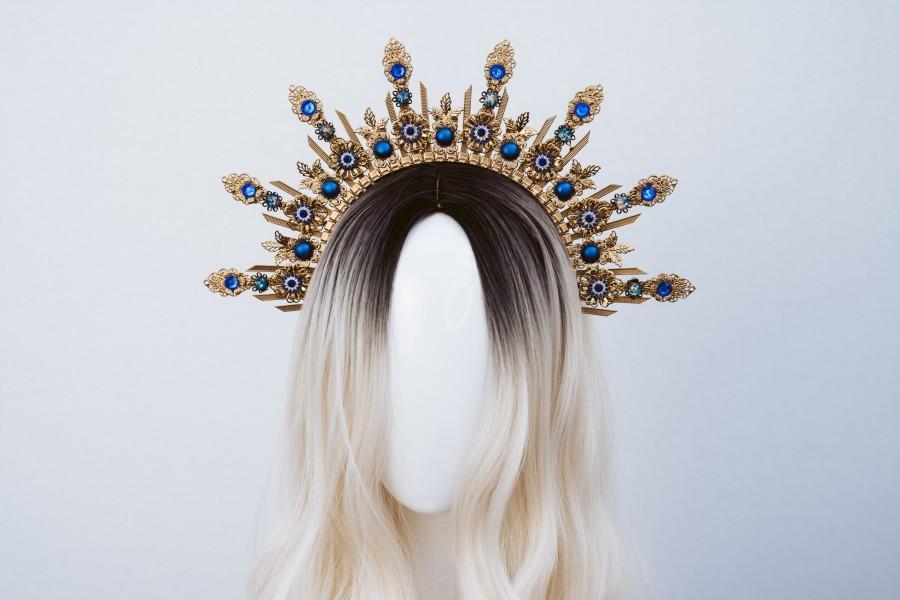 Wedding - Blue Halo Crown, Halo, Halo Crown, Halo Headpiece, Halo Headband, Halo Headlights, Crown, Gold Halo, Headpiece, Wedding Crown, Headband