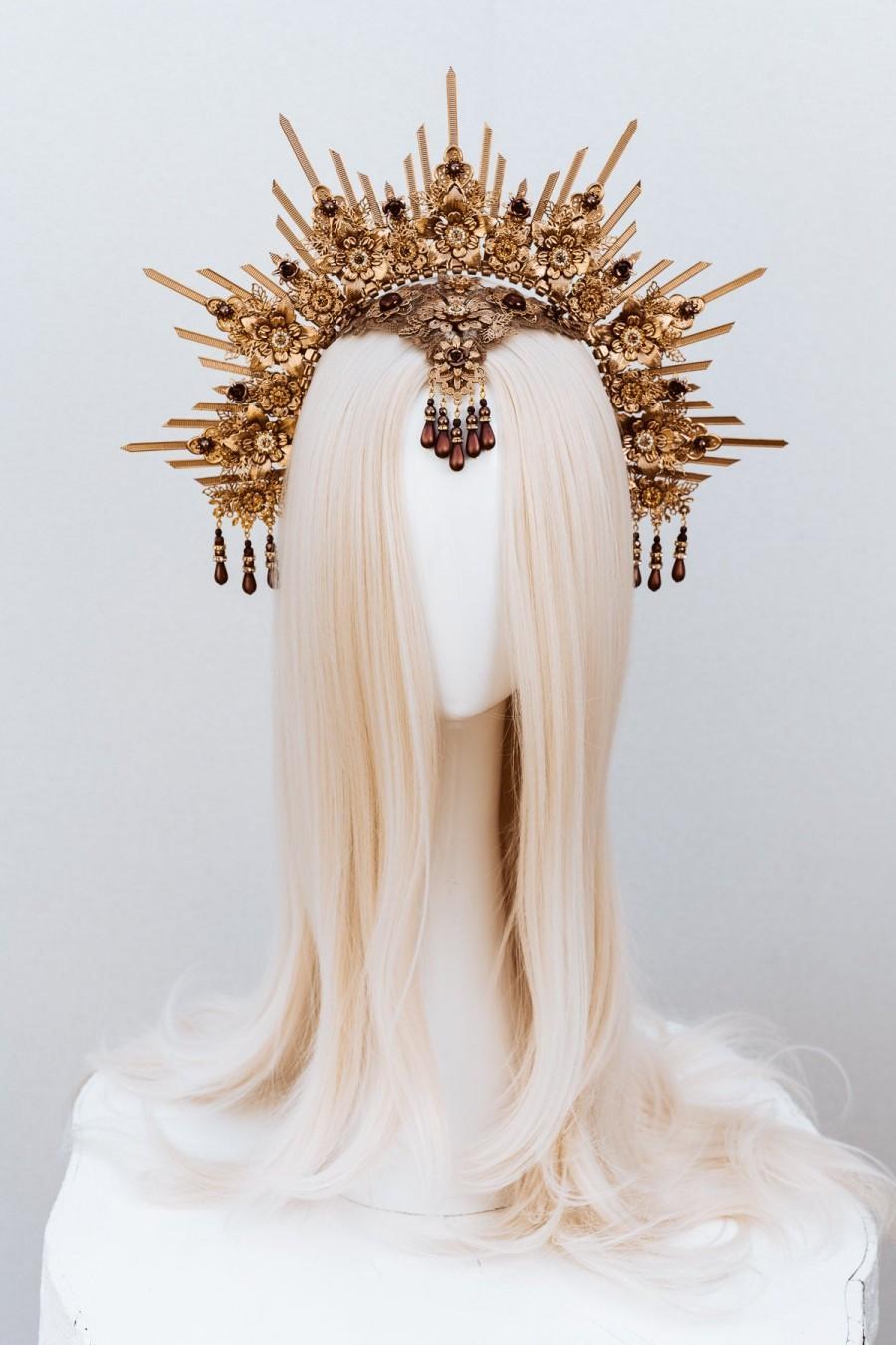 Wedding - Gold Halo Crown, Halo, Halo Crown, Halo Headpiece, Halo Headband, Halo Headlights, Crown, Gold Halo, Headpiece, Wedding Crown, Headband