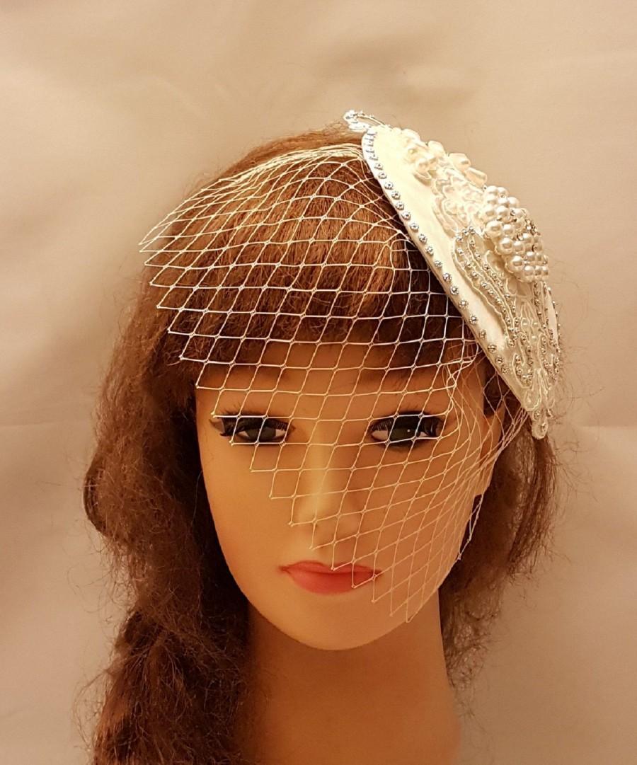 Wedding - Fascinator Headband, White,Ivory Bridal Headband ,Wedding, Bridesmaid,Cocktail